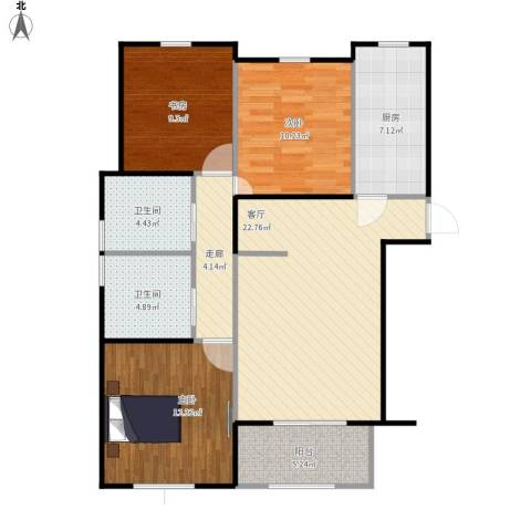 景汇佳苑3室1厅2卫1厨109.00㎡户型图