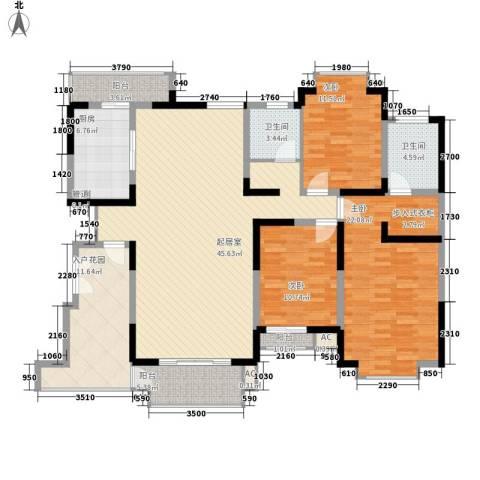南湖一号3室0厅2卫1厨182.00㎡户型图