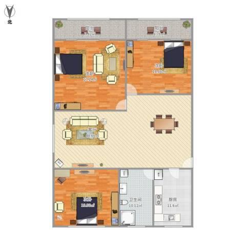 潼港八村3室1厅1卫1厨199.00㎡户型图