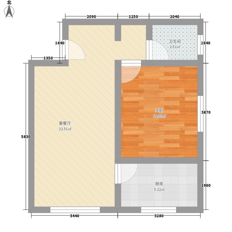 紫雅花园59.95㎡59.95平方米户型1室1厅1卫1厨