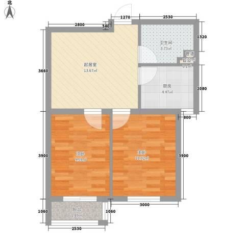 双E港二期2室0厅1卫1厨64.00㎡户型图