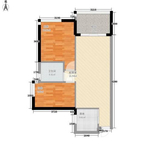 海怡东方花园2室0厅1卫1厨75.00㎡户型图