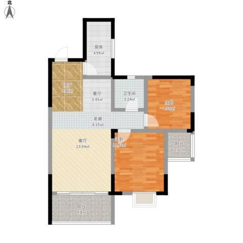 华韵城市风情(一期)2室1厅1卫1厨93.00㎡户型图