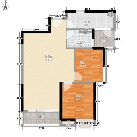 香格里拉花园2室0厅1卫1厨80.00㎡户型图