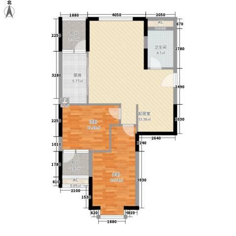 香格里拉花园2室0厅1卫1厨89.00㎡户型图