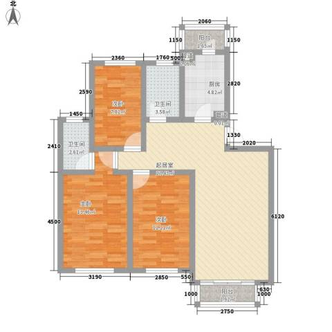 香格里拉花园3室0厅2卫1厨110.00㎡户型图