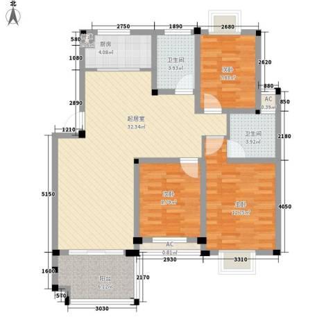 学墅丽邦3室0厅2卫1厨120.00㎡户型图