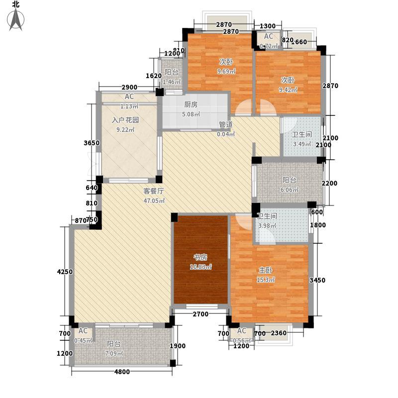 耀和荣裕147.56㎡33#1单元2-6层1号房户型4室2厅2卫1厨