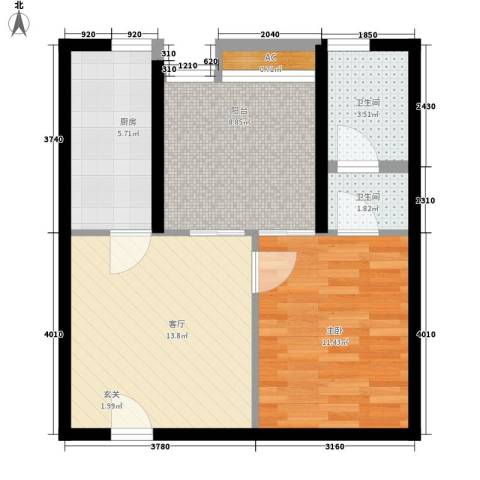 玛雅上层1室1厅2卫1厨66.00㎡户型图