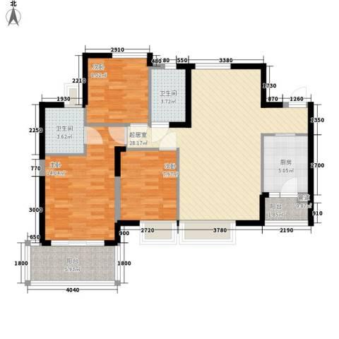 海怡东方花园3室0厅2卫1厨113.00㎡户型图