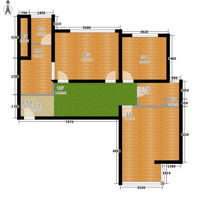 中恒书香门邸标准层C6户型3室2厅1卫1厨