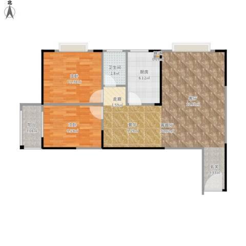 东方新城2室1厅1卫1厨94.00㎡户型图