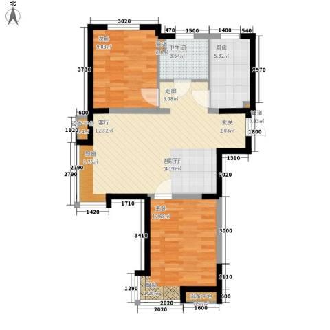 LOHAS上院-7号公寓2室1厅1卫1厨85.00㎡户型图