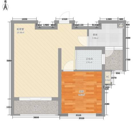 天华绿谷庄园1室0厅1卫1厨60.00㎡户型图