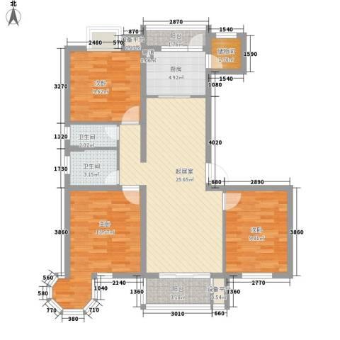东苑新天地3室0厅2卫1厨124.00㎡户型图