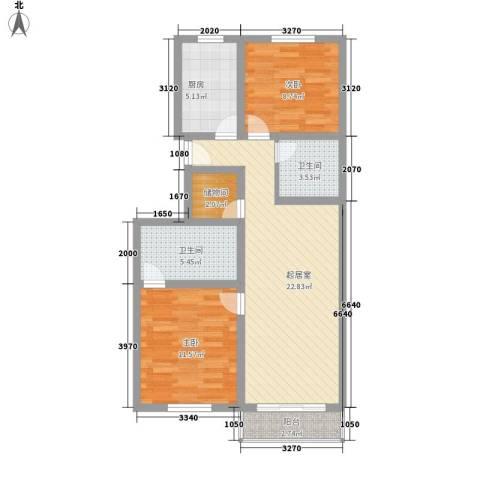 新梅花苑2室0厅2卫1厨91.00㎡户型图