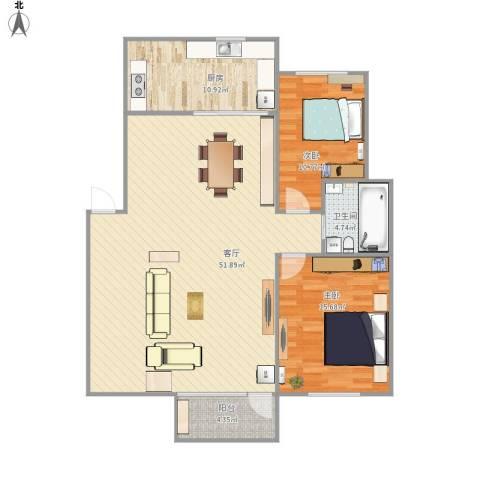 魅力之城2室1厅1卫1厨130.00㎡户型图