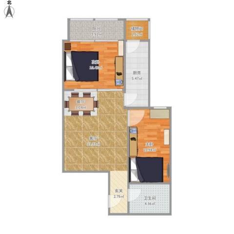 上龙西里2室1厅1卫1厨79.00㎡户型图