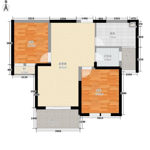 当代清水园2室0厅1卫1厨105.00㎡户型图