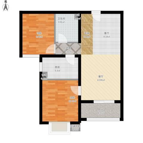 鑫鼎银河湾2室1厅1卫1厨88.00㎡户型图
