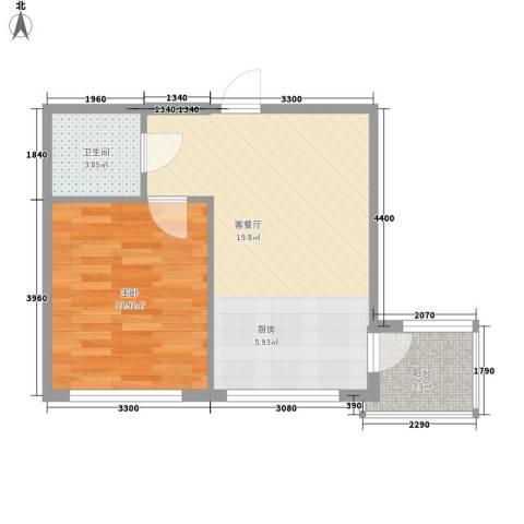 龙畔金泉三期1室1厅1卫0厨44.00㎡户型图