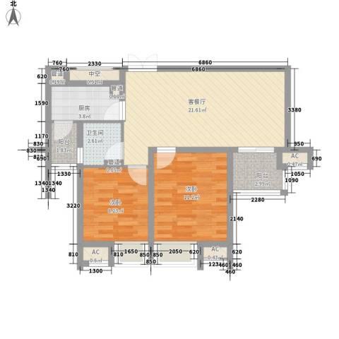 黎郡新宇2室1厅1卫1厨82.00㎡户型图