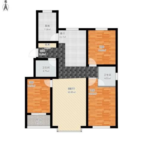 御品星城3室1厅2卫1厨152.00㎡户型图