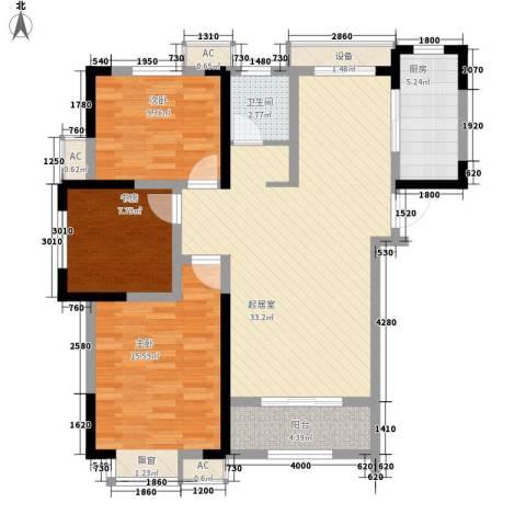 尚泽时代广场3室0厅1卫1厨106.00㎡户型图