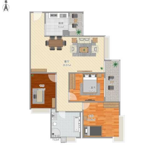 世荣名筑3室1厅1卫1厨118.00㎡户型图