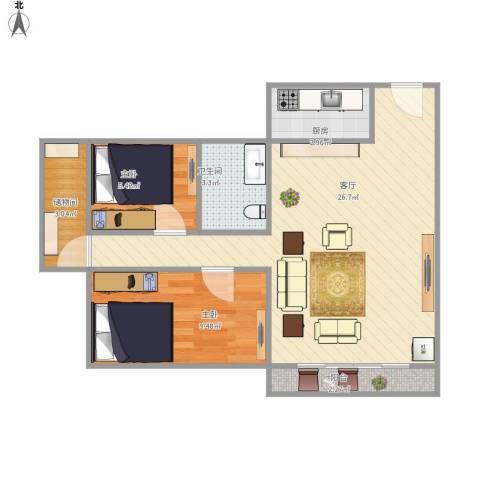 梅花豪庭2室1厅1卫1厨73.00㎡户型图