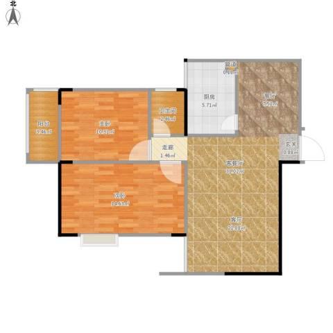 东方新城2室1厅1卫1厨91.00㎡户型图
