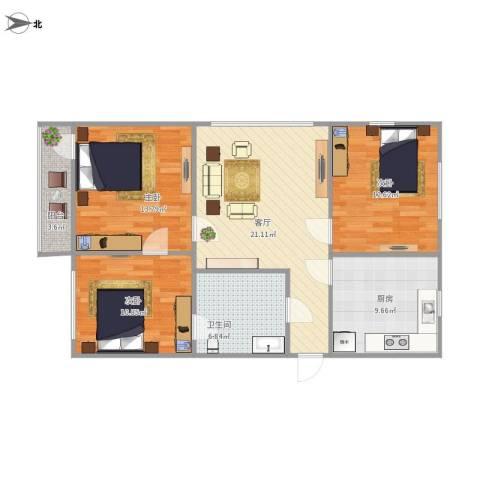 夕照新村3室1厅1卫1厨106.00㎡户型图