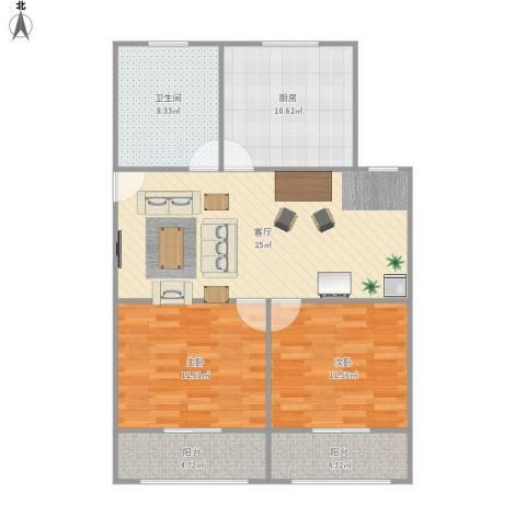 九洲大唐花园二期2室1厅1卫1厨82.90㎡户型图
