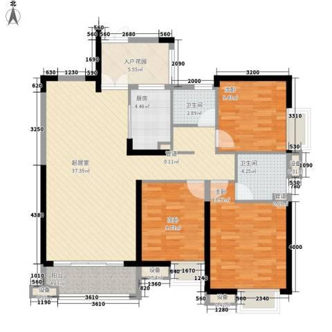 世纪城龙泽苑3室0厅2卫1厨140.00㎡户型图