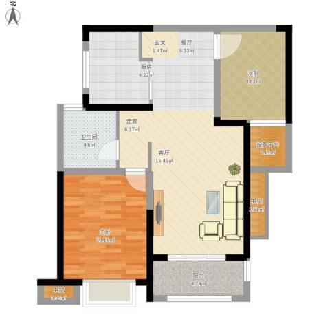 高速时代城2室1厅1卫1厨104.00㎡户型图