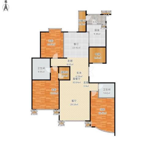 丰泰世纪公寓3室1厅2卫1厨222.00㎡户型图