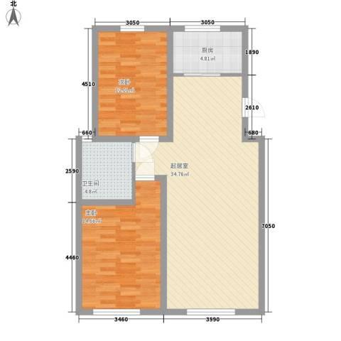 弘基书香园三期2室0厅1卫1厨100.00㎡户型图