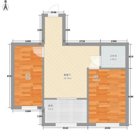 金都嘉园2室1厅1卫1厨51.50㎡户型图