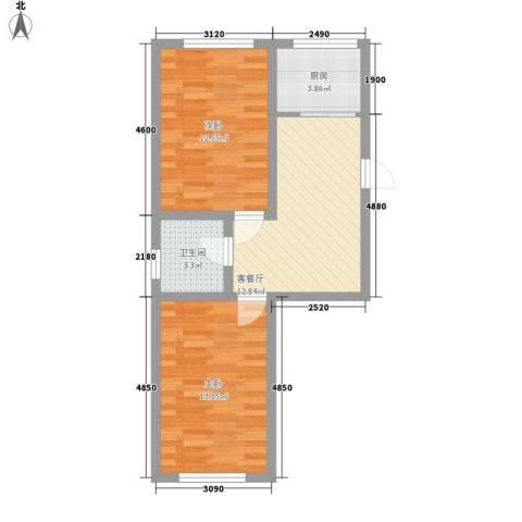 金都嘉园2室1厅1卫1厨53.00㎡户型图