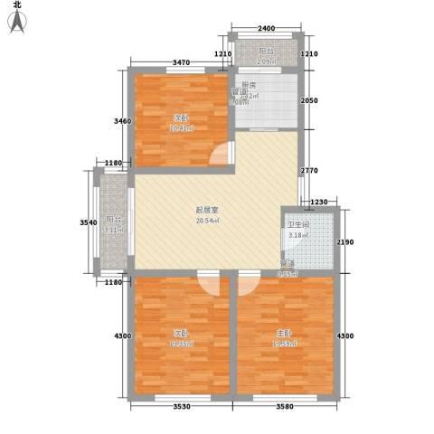 科技花园3室0厅1卫1厨102.00㎡户型图