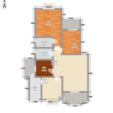 塞纳阳光3室1厅2卫1厨110.00㎡户型图