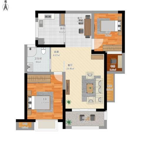 高速时代城3室1厅1卫1厨104.00㎡户型图