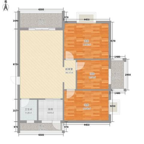 金星阳光格林3室0厅1卫1厨85.59㎡户型图