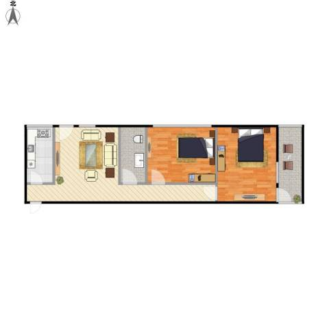牛街东里2室1厅1卫1厨86.00㎡户型图