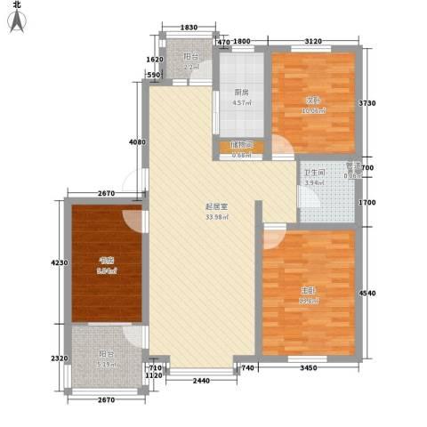 大禹城邦3室0厅1卫1厨123.00㎡户型图
