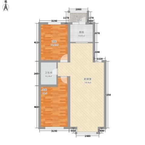大禹城邦2室0厅1卫1厨100.00㎡户型图