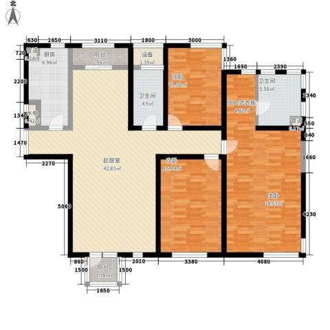 置地新唯花园3室0厅2卫1厨128.00㎡户型图