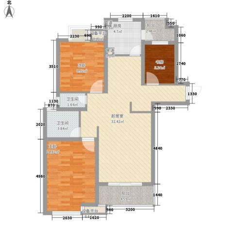 东苑新天地3室0厅2卫1厨117.00㎡户型图