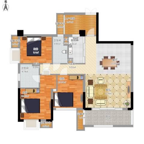 泰然环球时代中心3室1厅2卫1厨147.00㎡户型图
