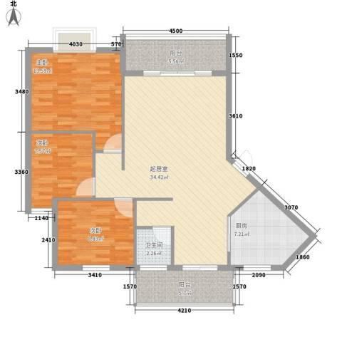 金星阳光格林3室0厅1卫1厨85.13㎡户型图